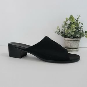 Munro American Black Slip on Leather Sandals 8 1/2